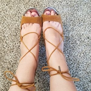 Jimmy Choo Lace Up Gladiator Suede Sandal Heel